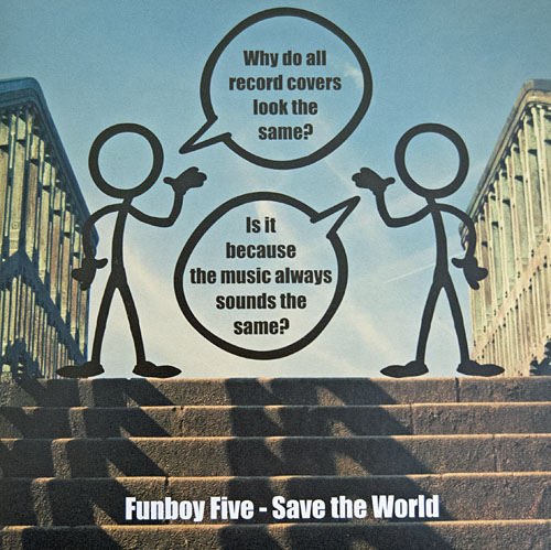 Front cover of the 2014 Funboy Five single, Save The World