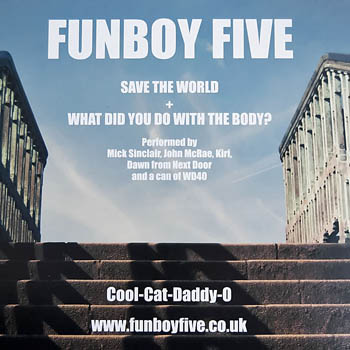 back cover of the Funboy Five single, Save The World
